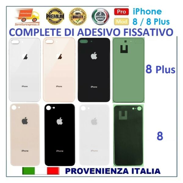VETRO POSTERIORE SCOCCA BACK COVER OEM x APPLE iPHONE 8 8 plus NERO BIANCO GOLD