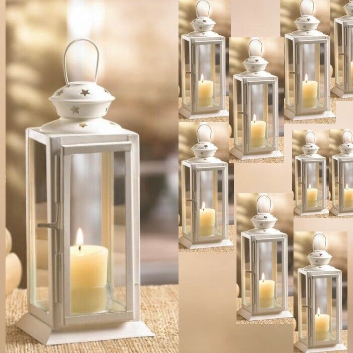Lot 10 Starry Cutout Lantern 8 Small White Candle Holder Wedding
