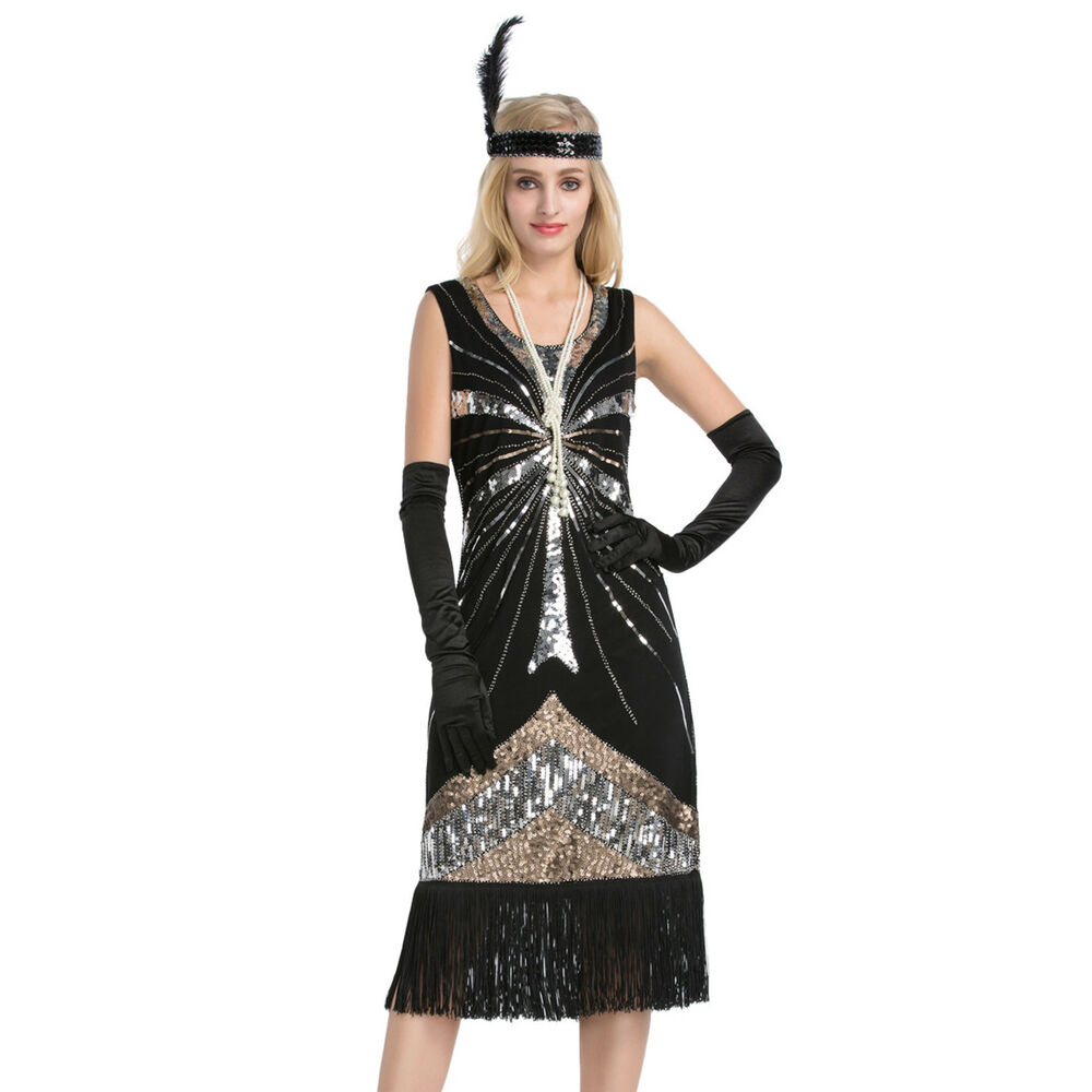Women's Vintage 1920s Style Gatsby Sequin Flapper Dress