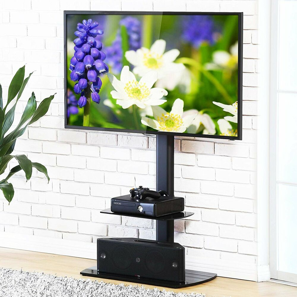 Details About Tv Stand With Swinging Mount Storage Holder Modern Entertainment Center Up To 65