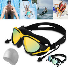 Swimming Glasses Goggles UV Protection HD Anti-Fog Ear Plug Adjustable Swim Cap