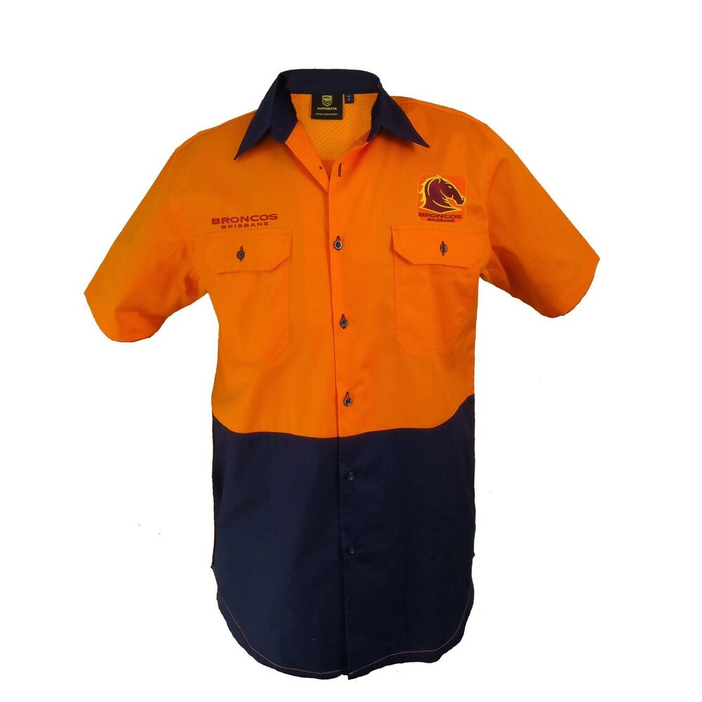 15e95df67 Brisbane Broncos NRL Short Sleeve Button Work Shirt  HI VIS ORANGE NAVY  Gift