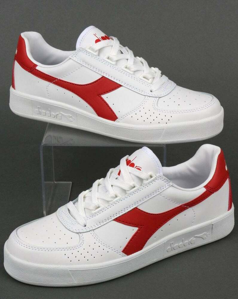 584a61c4f9f Diadora Borg Elite Trainers in White   Red - B Elite Leather retro tennis  shoe   eBay