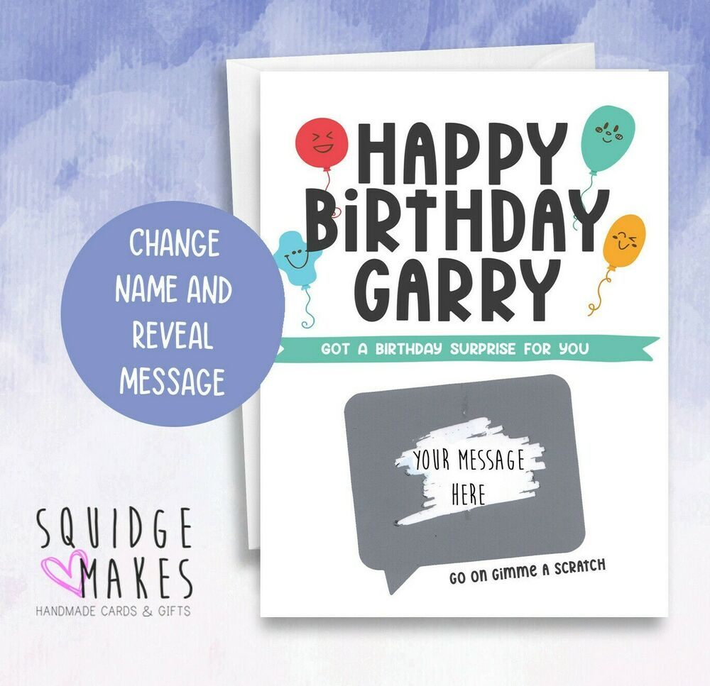 Details About Surprise Personalised Mens Birthday Card Scratchcard Gift Dad Husband