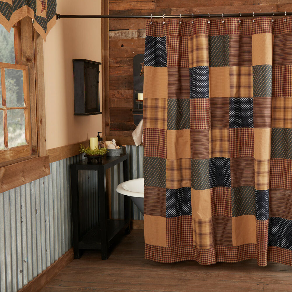 Details About Patriotic Patch Navy Red Tan Americana Country Cabin Cotton Bath Shower Curtain
