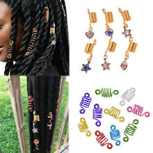 Dreadlock Beads Tube Metal Hair Braid Cuffs Clips Spiral 5/10pcs Jewelry Decor