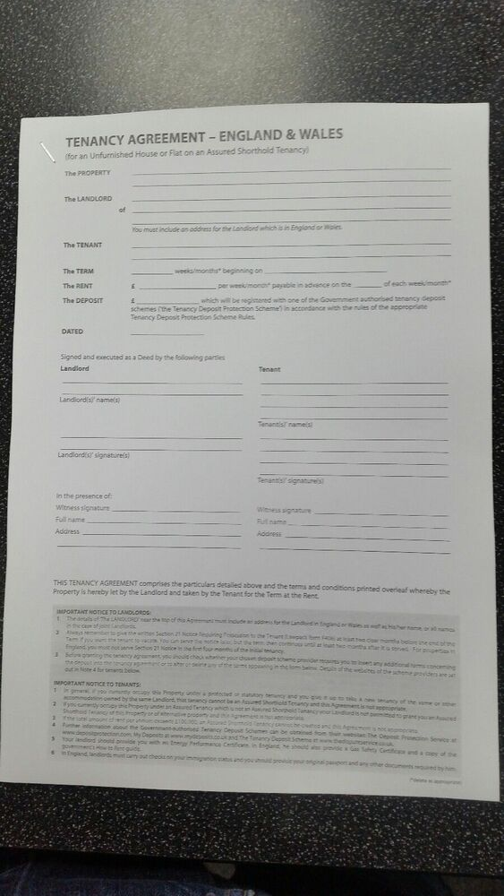 Un Furnished Tenancy Agreement Free Postage England And Wales Rental