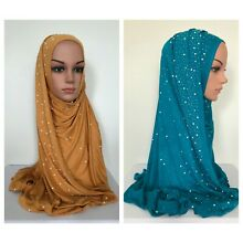 High Quality! Cotton Jersey Scarf with Rhinestones & Pearl border 170 x 60 cm