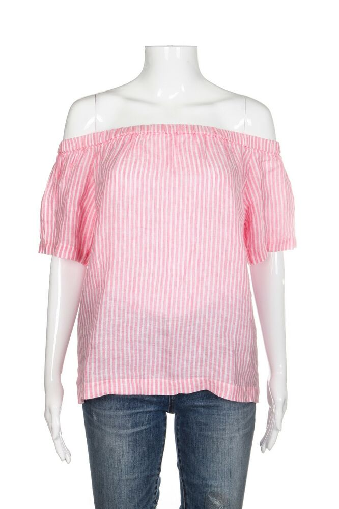 5c73b84b01fa4f Details about NWT J.CREW Pink Off The Shoulder Top Size XS White Striped  Blouse 100% Linen New