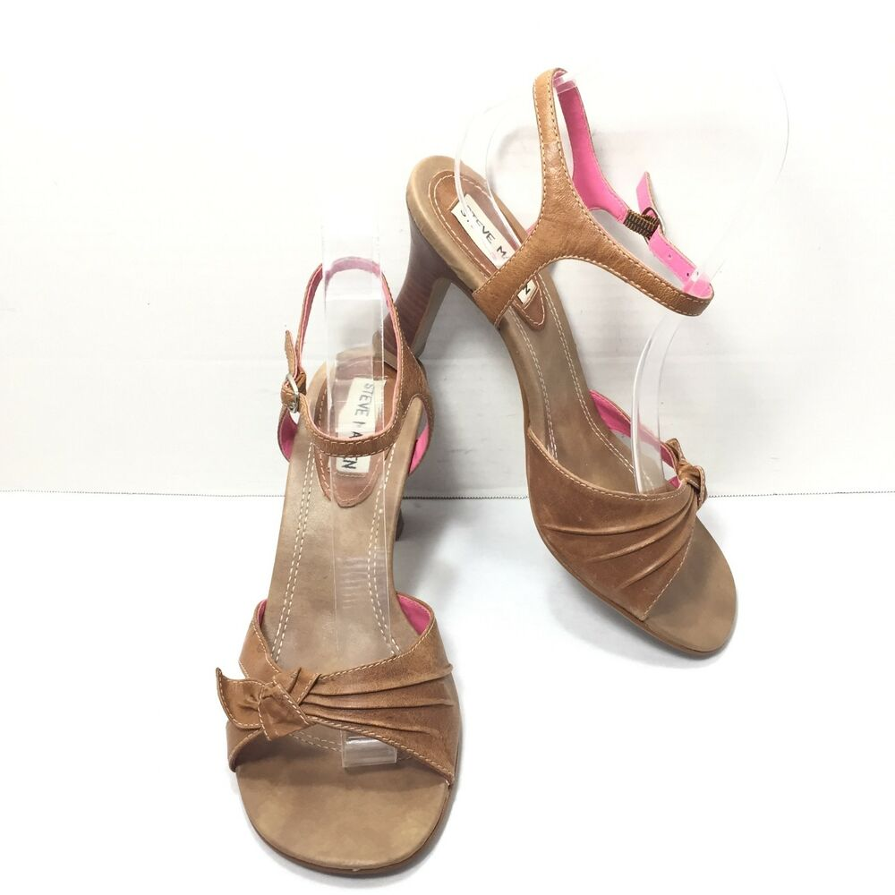 3c2e23c96 Details about Women s Steve Madden Brown Tan Bow Ankle Strap High Heel Sandals  Size 7 B