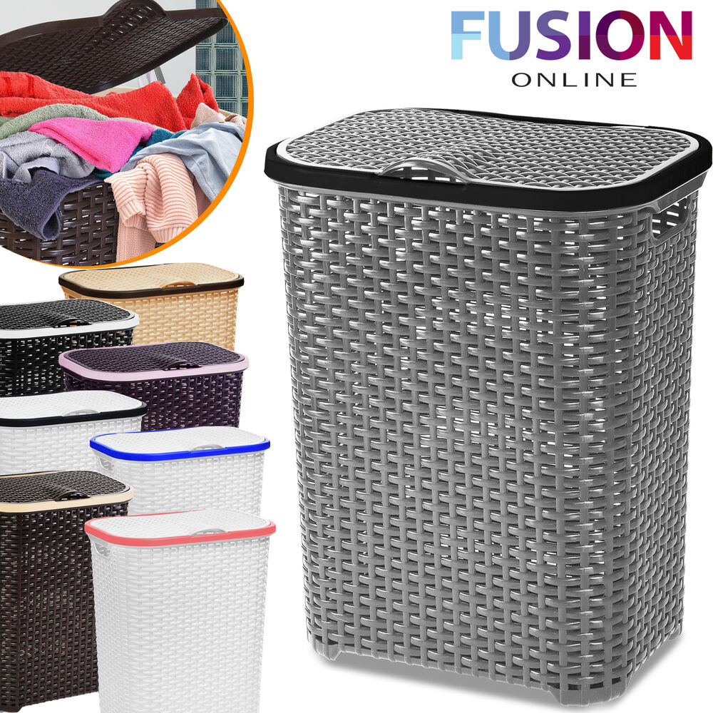 Laundry Basket Washing Clothes Storage Hamper Rattan Style