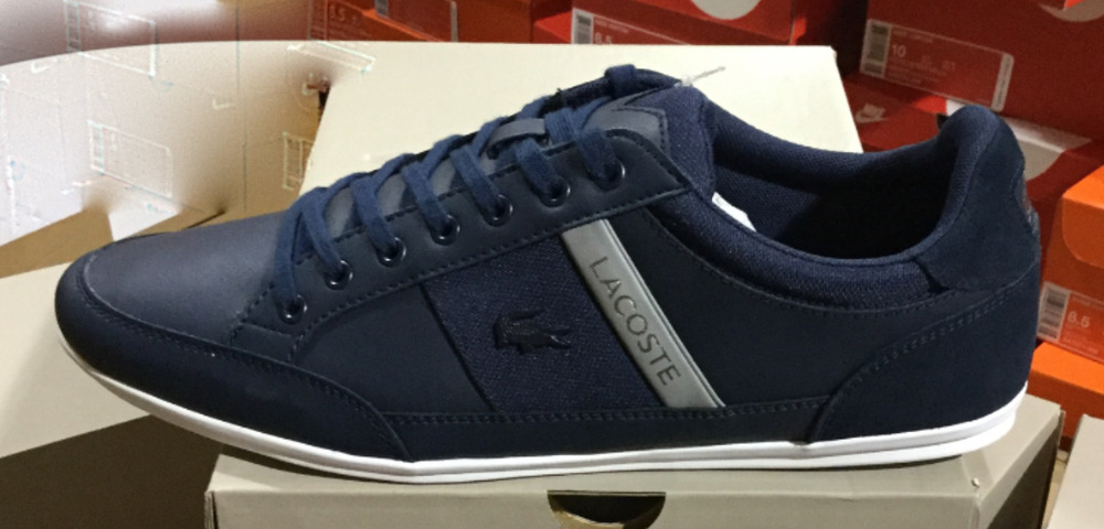 d87c6e1970f Lacoste Chaymon 318 3 US CAM Leather Navy Grey Men s Sneakers 7-36CAM0011178  L