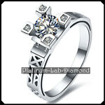 Modern Space Style 0.50Ct DIAMOND Platinum PT950 Vintage Ring Engagement SHELLY