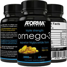 Ultra Fish Oil Omega-3 2000mg Supplement /w 800 EPA + 600 DHA High Potency