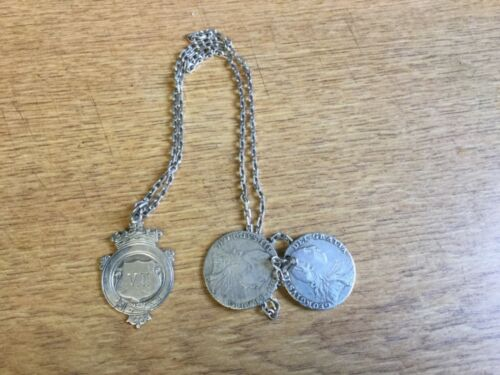 x2 George III 1787 Silver Shillings On a Chain with Silver 1937 Fob