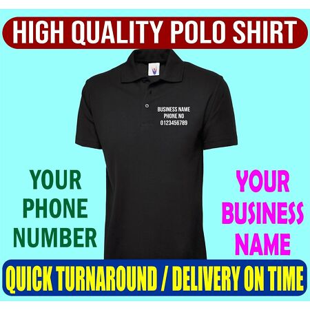 img-Personalised Printed Polo Shirt, Business Name Phone Number Workwear Top