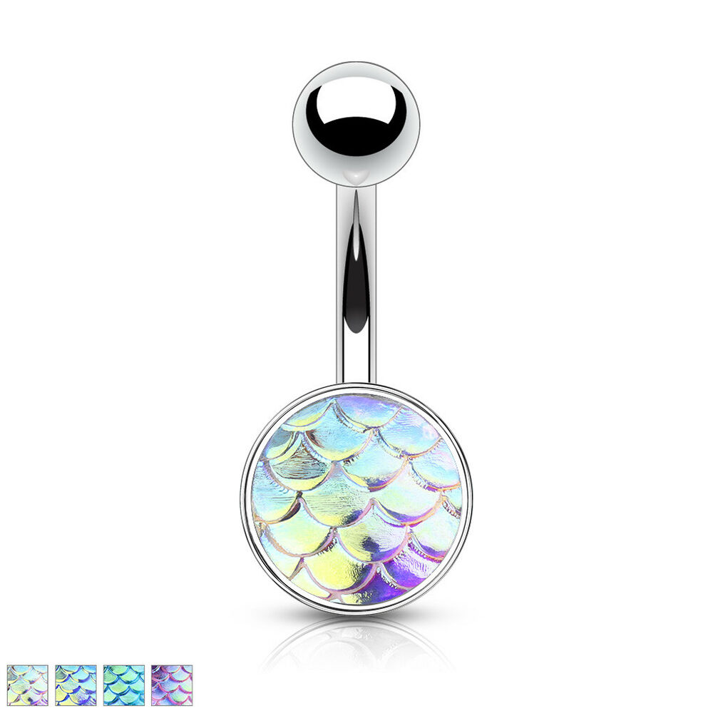 1pc Iridescent Fish Scale 316l Surgical Steel 14g Belly Ring Pierced Navel Naval Ebay