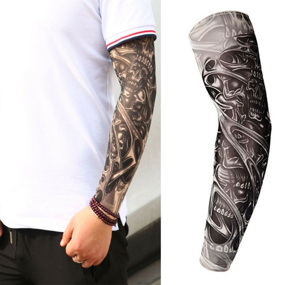 2PCS Elastic Fake Temporary Tattoo Sleeves Designs Body Arm Cover ...