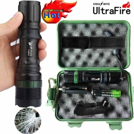 img-Tactical ZOOM 50000LM LED T6 LED Military Flashlight Torches 18650 Charger Case