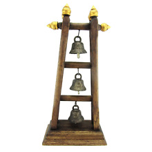 Antique Elephant Buddhist Bronze Temple Bells with Wooden Stand Thailand 18