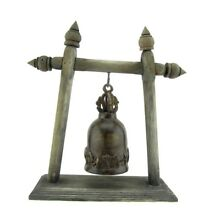 Antique Elephant Buddhist Bronze Temple Bells with Wooden Stand Thailand 11