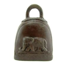 Small Antique Elephant Cow Bell Bronze Thailand Temple Decor Buddha Brass 3.5