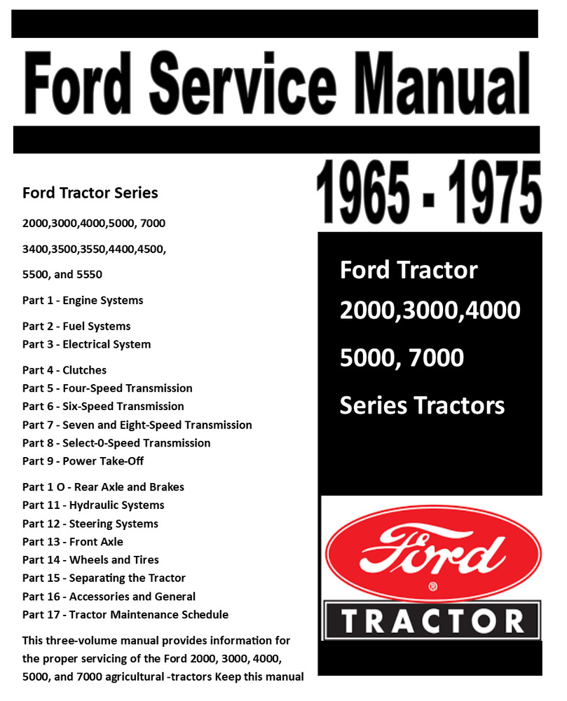 Ford 2000 3000 4000 5000 7000 (3400-5550) Tractor Service Shop Manual  1965-1975 | eBay