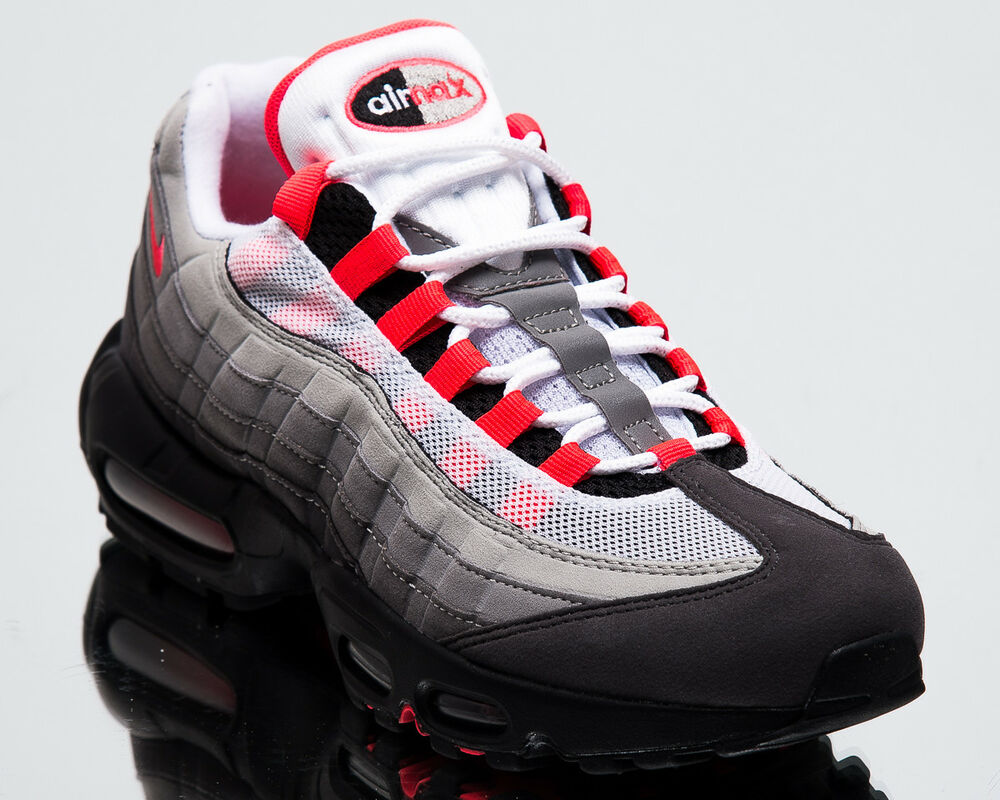 huge selection of e31fc a2ed4 Details about Nike Air Max 95 OG Solar Red Men New White Granite Lifestyle  Sneakers AT2865-100