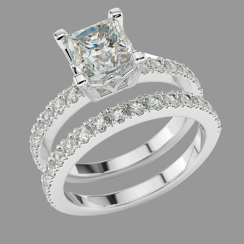 1.47 CT F-G/VS Princess Enhanced Diamond Engagement Ring