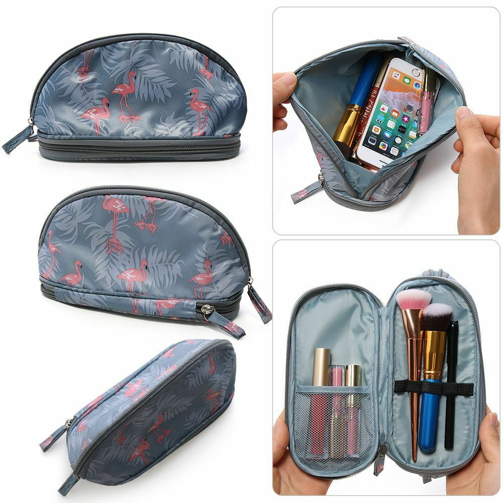 Details about Flamingo Cosmetic Bag Women Double Layer Travel Makeup Pouch Bags Organizer--