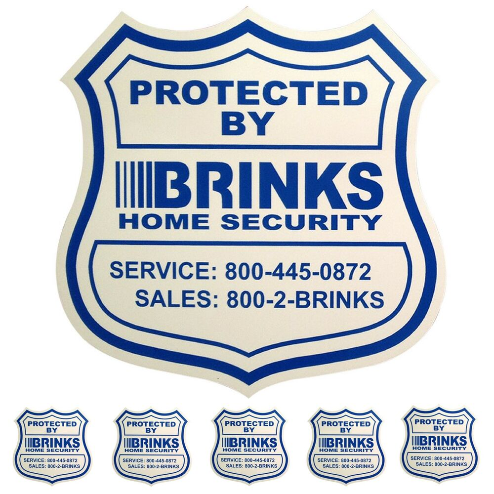 1 HOME SECURITY YARD SIGN and 5 STICKERS / DECALS FOR DOORS WINDOWS ADT  BRINKS | eBay