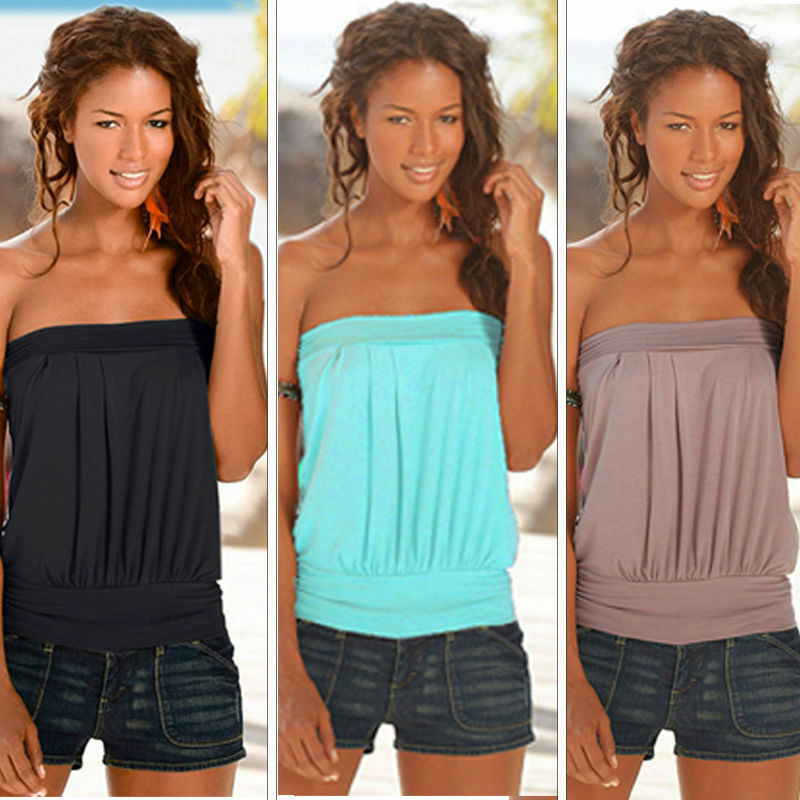 adb54554014 Details about Womens Strapless T-shirt Bandeau Boob Tube Tops Tank Ladies  Blouse Vest BOHO