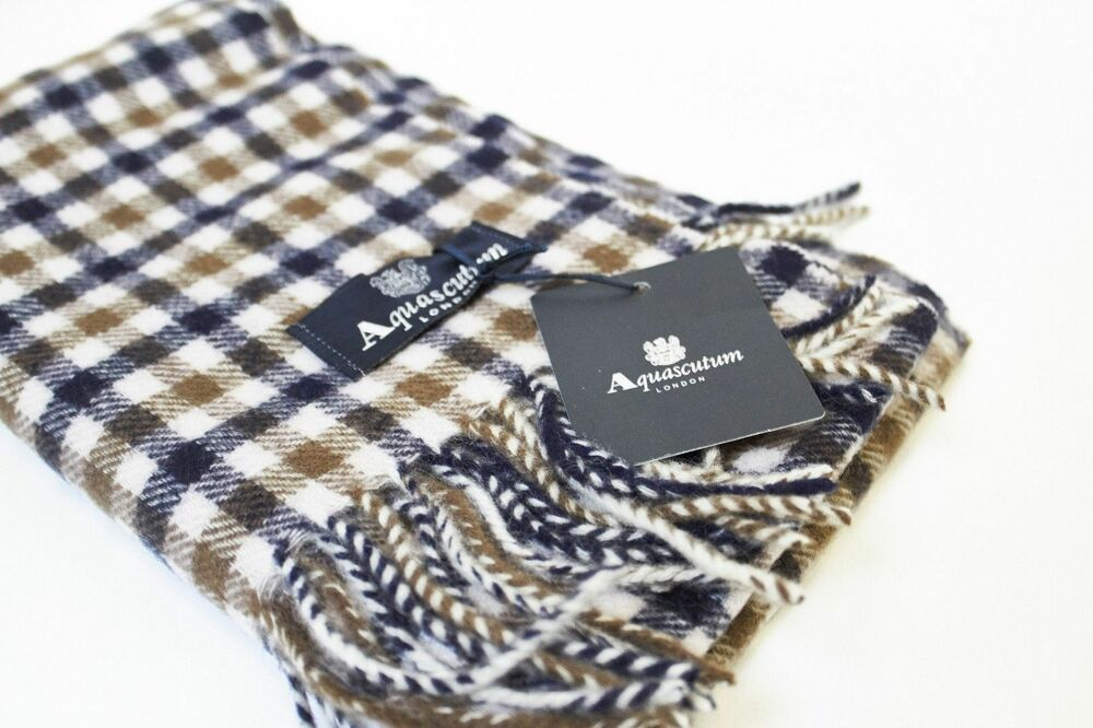 b78f657afb4f Aquascutum Scarf 100% Lambswool Classic House Check Brand New With Tags  Vicuna   eBay