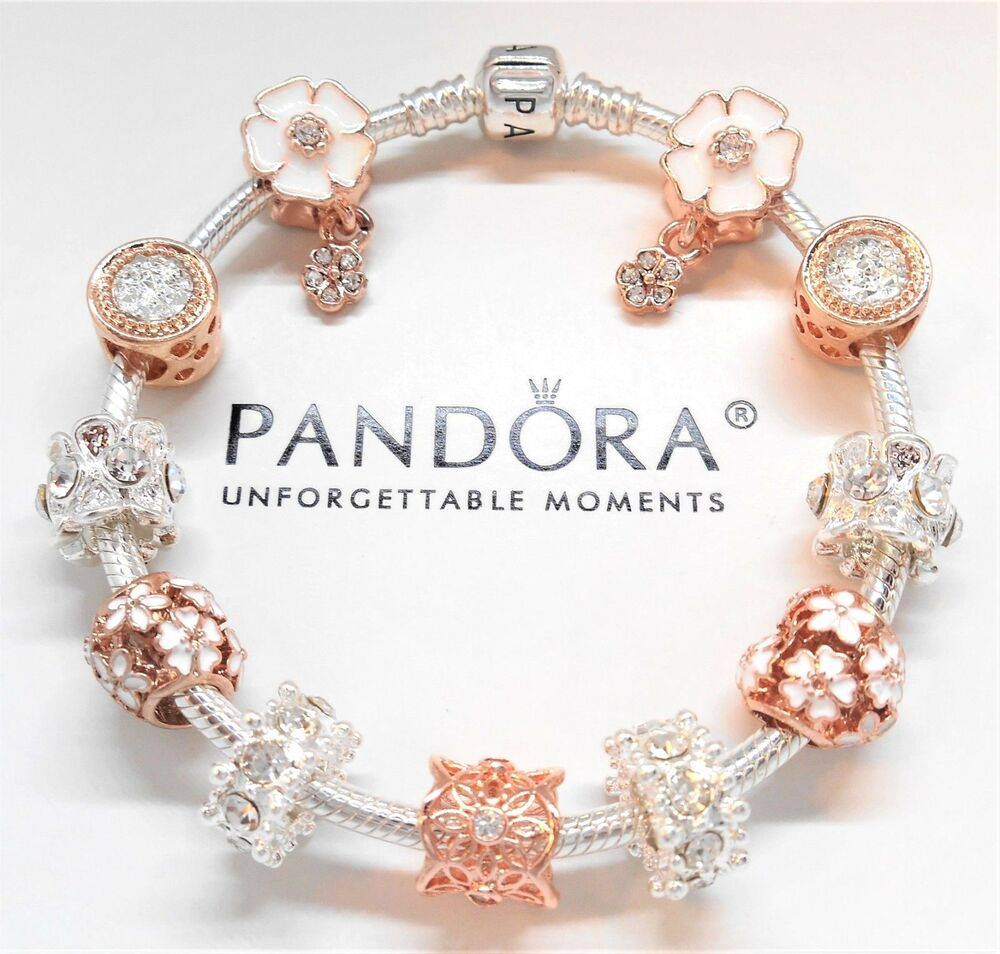 European Charm Bracelets: Pandora Sterling Silver Charm Bracelet With Rose Gold