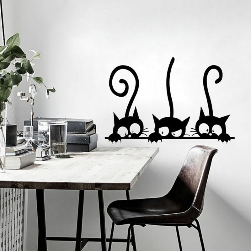 diy black cats pattern wall sticker self adhesive decals home room