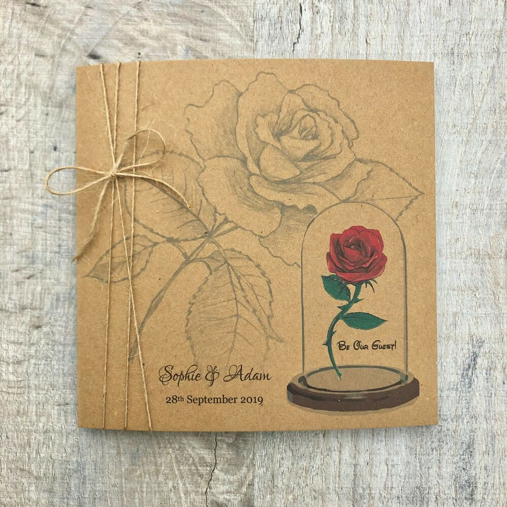 Details About Vintage Rustic Beauty And The Beast Wedding Invitation Disney Sample