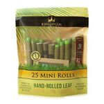 King Palm Wraps Mini Size 25 ct 100% Tobacco Free Leaf Rolls Corn Husk Filter