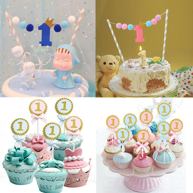 Details About Baby Shower One Year Old Happy Birthday Cake Topper Flag Banner Crown New