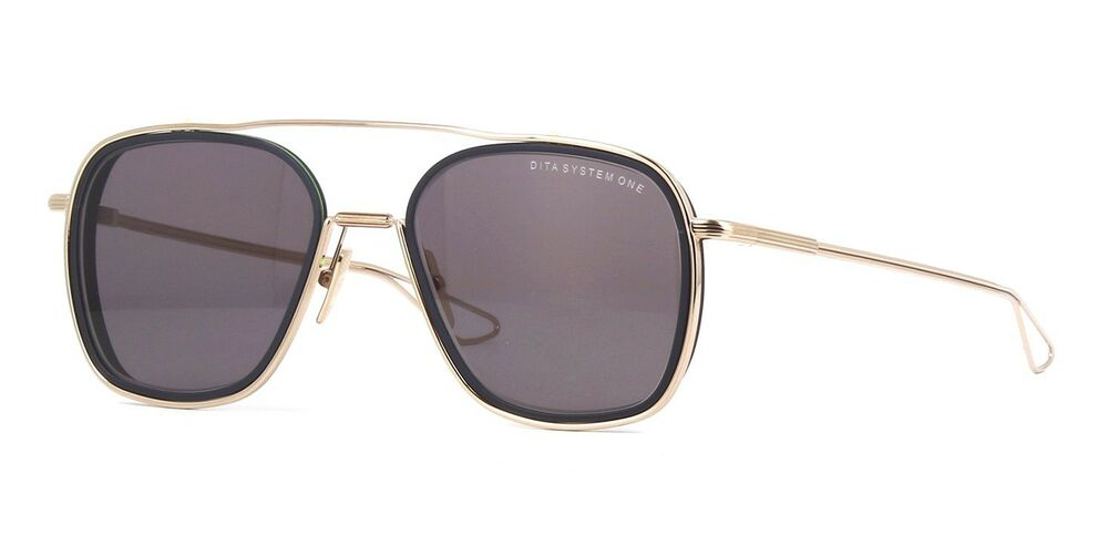 98c1a6a7237 Dita SYSTEM-ONE White Gold Midnight Black Light Gold Flash Mirror(02)  Sunglasses 814981026276
