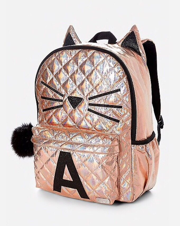 NWT Justice Backpack Gold Cat Quilted Style-Letter ~S~Full Size Gold Backpack!