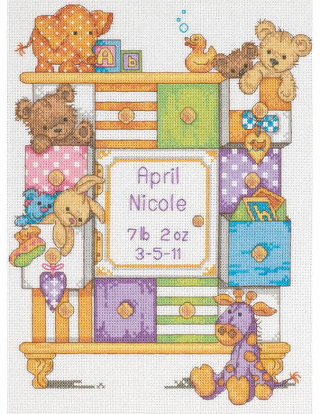 Dimensions Baby Drawers Counted Cross Stitch Kit Birth Record 14 Count