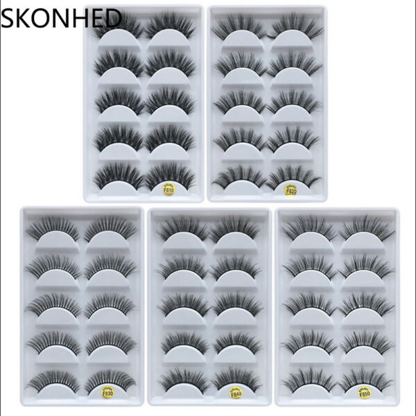 5 Pairs 100% Real Mink 3D Volume Thick Daily False Eyelashes Strip Lashes