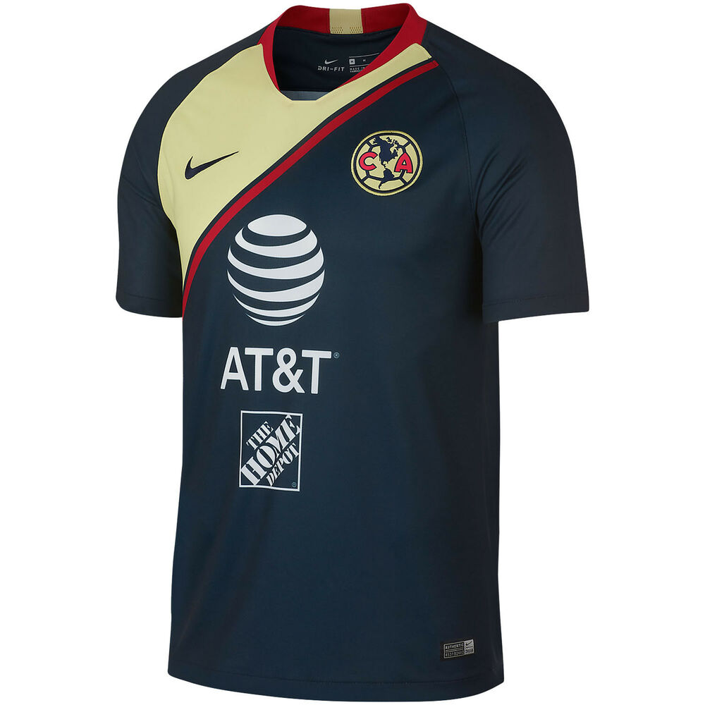 abff94066fb24e Details about Nike Club America DF 2018 - 2019 Away Soccer Jersey New Navy    Yellow   Red