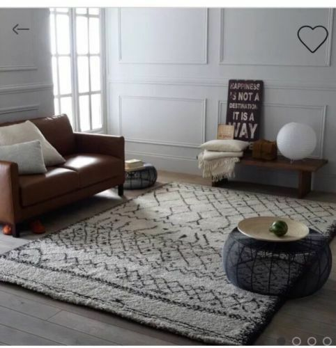7bfdd1f30a Details about LUXURY LAREDOUTE AFAW BERBER STYLE AZTEC RUG BLACK WHITE  160X230CM RRP £179