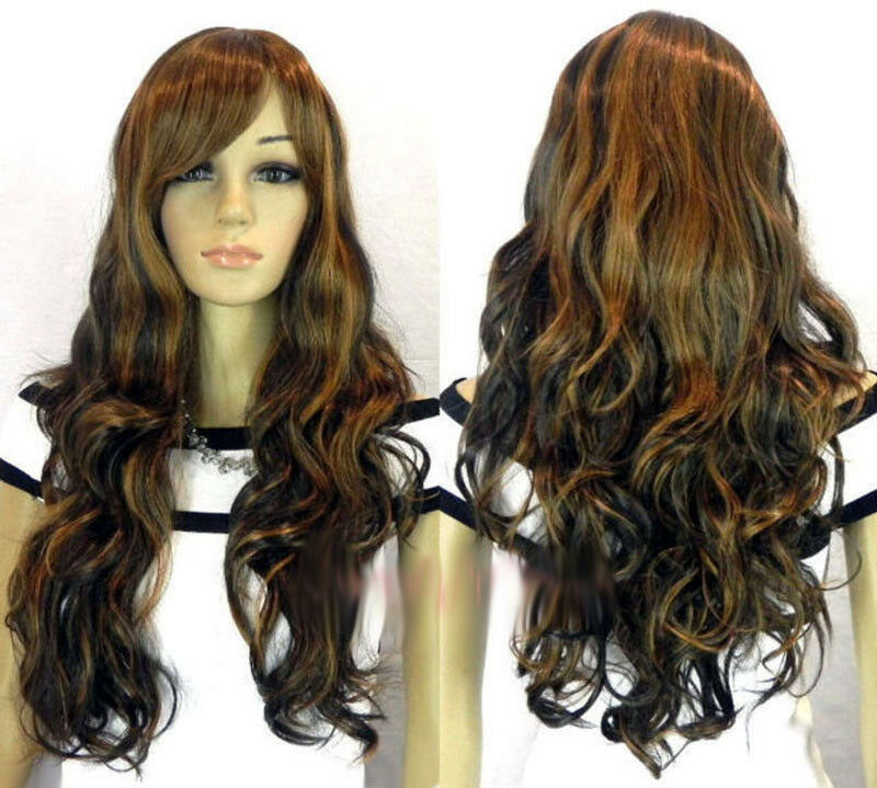 Details about Hot Sell Long Brown Mix Curly Women s Lady s Cosplay Party Hair  Wig Wigs + Cap 73f2fac74d