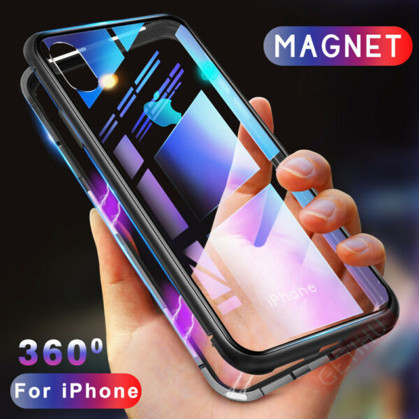 Magnetic Adsorption Back Case for iPhone X 7 7 Plus 8 6S XS Max + Tempered Glass
