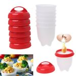 6Pcs Silicone Egg Cooker Maker Hard Boiled Cup Kitchen Separator Divider Tools