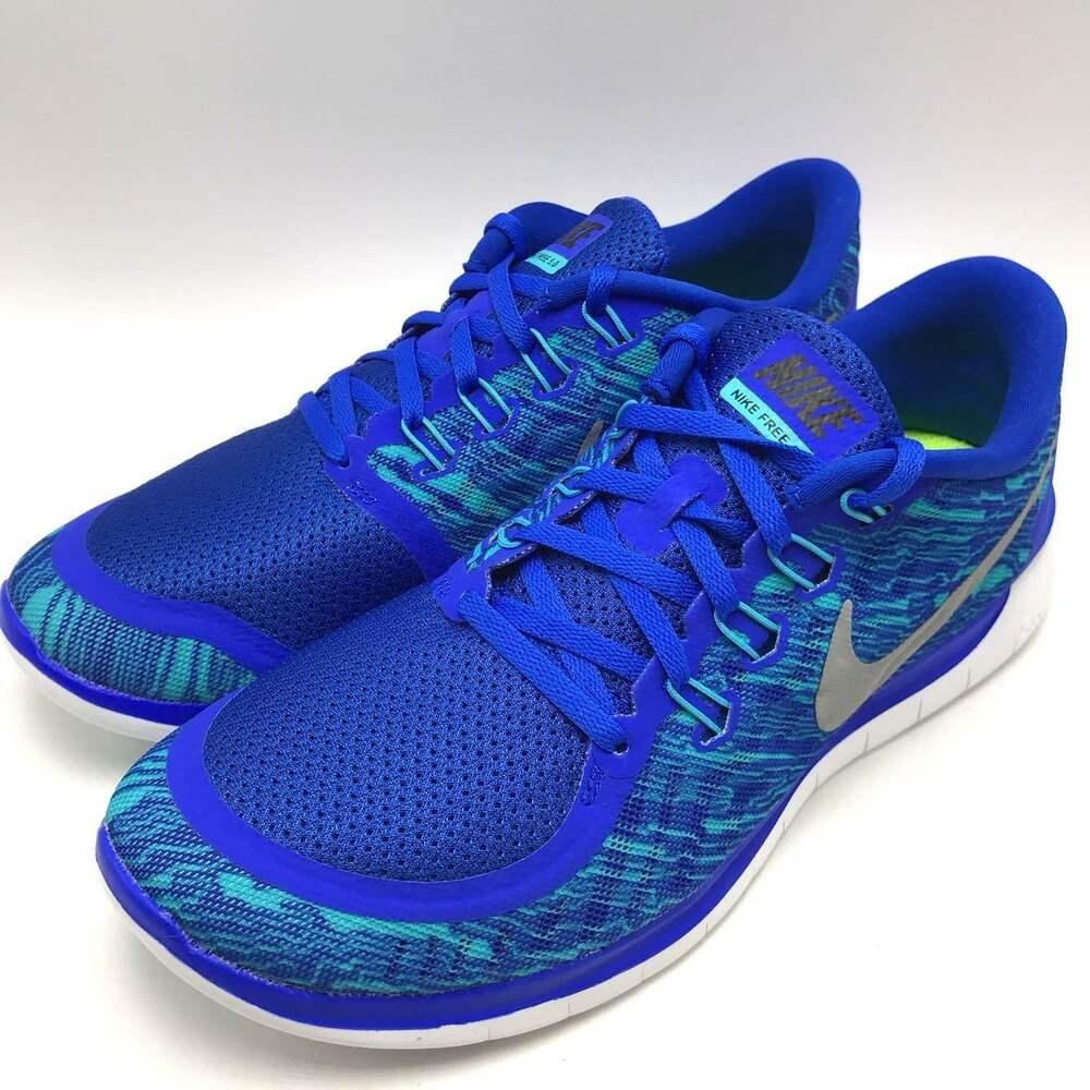 f205a77ad640 Details about Nike FREE 5.0 Print Men s Running Shoes  Blue Silver-Blue-White 749592-404