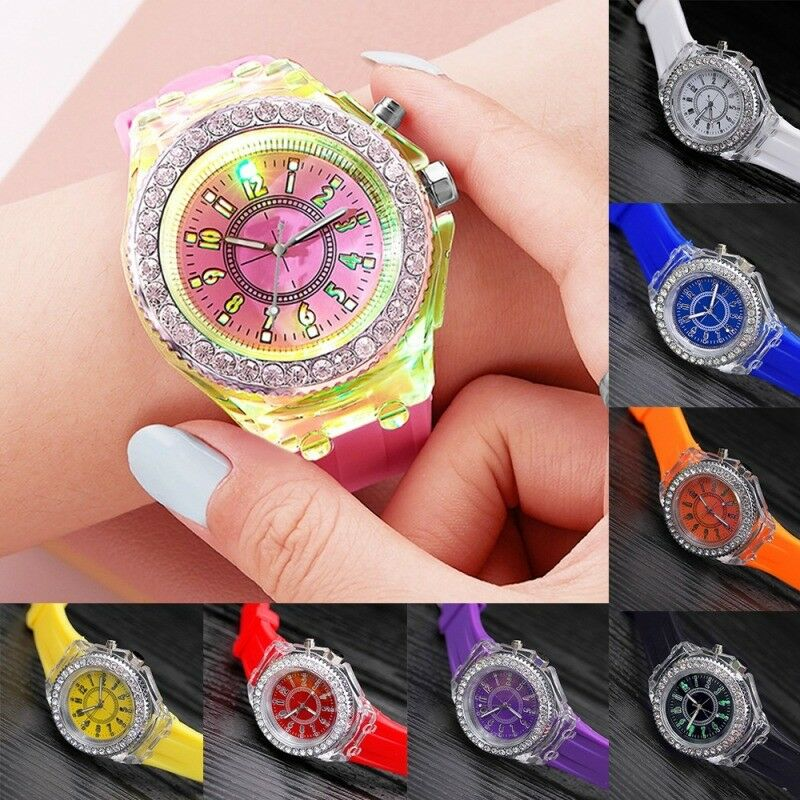 81256bccb05015 Details about Unisex Watch Light Up LED Glow Crystal Bling Kid Baby Watches  Holiday Decor Gift