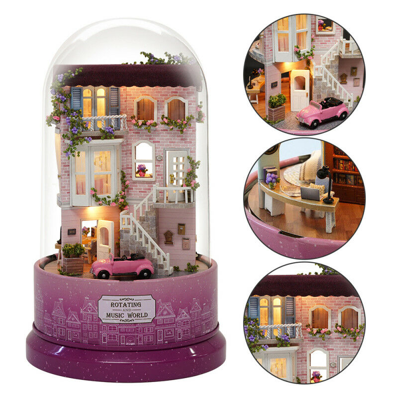 Diy Glass Doll House Crystal Ball Model Wooden Miniature Furniture